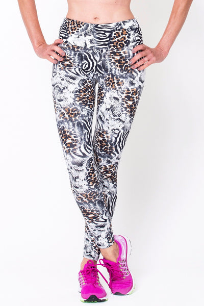 Bottoms White Animal Print - Womens Activewear and Workout Clothes | RomanceUSA