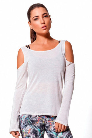 Tops,Beige Linen Shoulder Cut