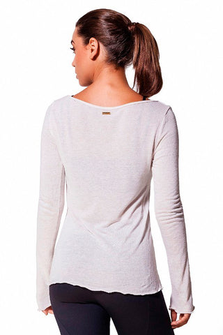 Tops,Beige Linen V-neck Top