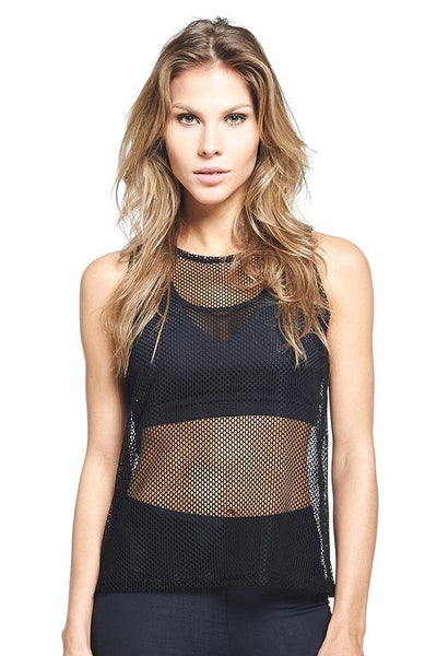 Tops Black Mesh Tank - Womens Activewear and Workout Clothes | RomanceUSA