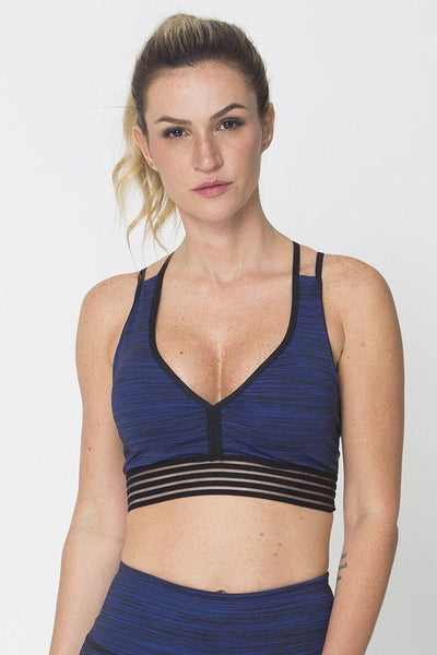 Tops Blue Action Sports Bra - Womens Activewear and Workout Clothes | RomanceUSA