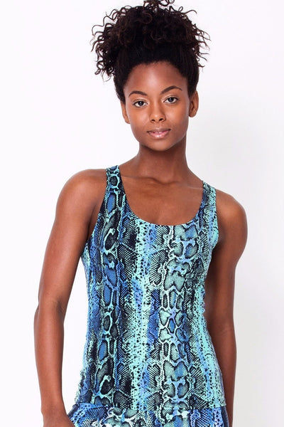 Tops Blue Snake Active Tank - Womens Activewear and Workout Clothes | RomanceUSA