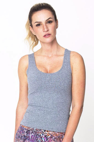 Tops Heather Grey Power Tank - Womens Activewear and Workout Clothes | RomanceUSA