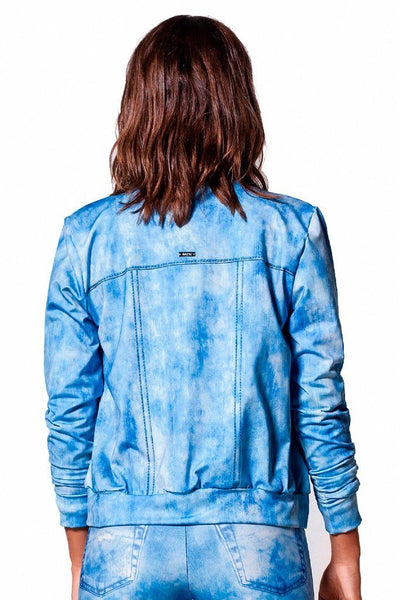 Tops Light Wash Jeans Suplex Bomber Jacket - Womens Activewear and Workout Clothes | RomanceUSA