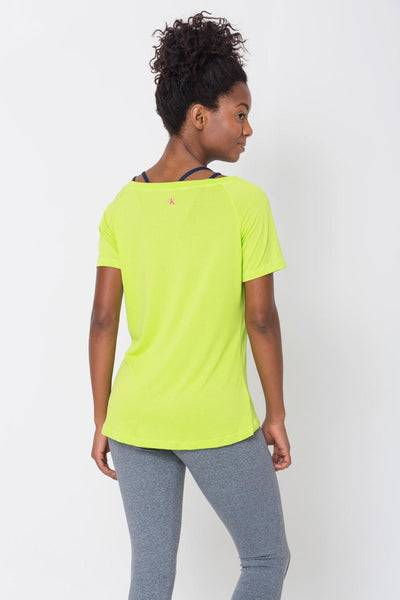 Tops Lime Raglan V-neck Tee - Womens Activewear and Workout Clothes | RomanceUSA