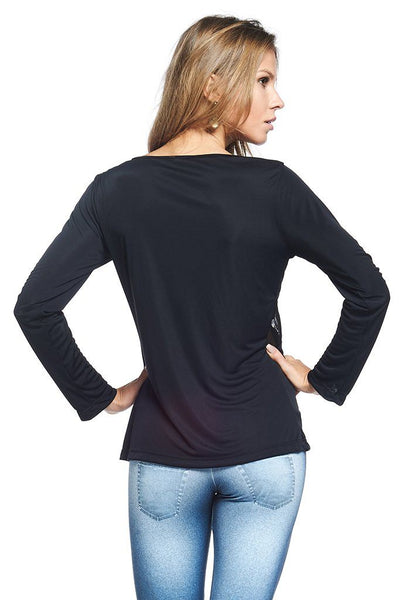 Tops Mesh Detail Long Sleeve - Womens Activewear and Workout Clothes | RomanceUSA