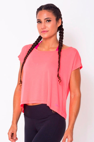 Tops Peach Drop Tail Hem Tee - Womens Activewear and Workout Clothes | RomanceUSA
