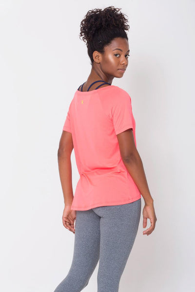 Tops Peach Raglan V-neck Tee - Womens Activewear and Workout Clothes | RomanceUSA