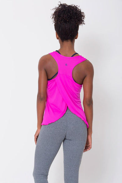 Tops Pink Crossover Back Tank - Womens Activewear and Workout Clothes | RomanceUSA