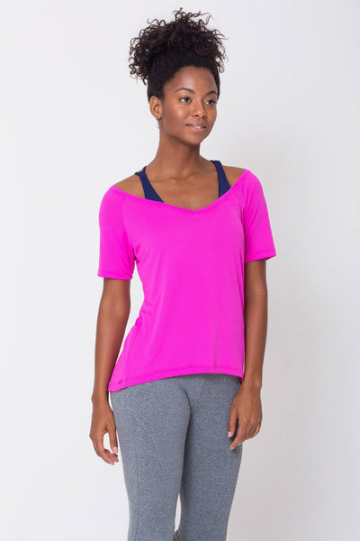 Tops Pink Raglan V-neck Tee - Womens Activewear and Workout Clothes | RomanceUSA