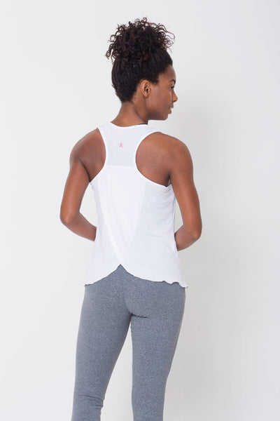 Tops White Crossover Back Tank - Womens Activewear and Workout Clothes | RomanceUSA