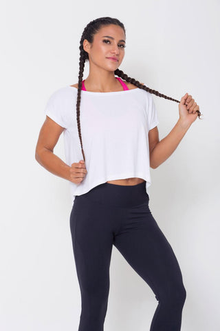 Tops,White Drop Tail Hem Tee