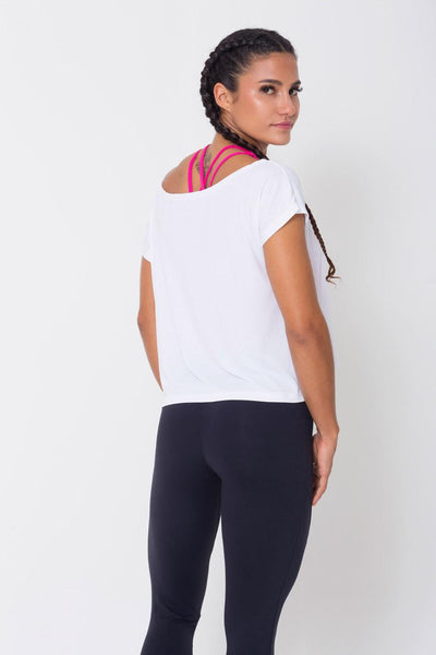 Tops White Drop Tail Hem Tee - Womens Activewear and Workout Clothes | RomanceUSA