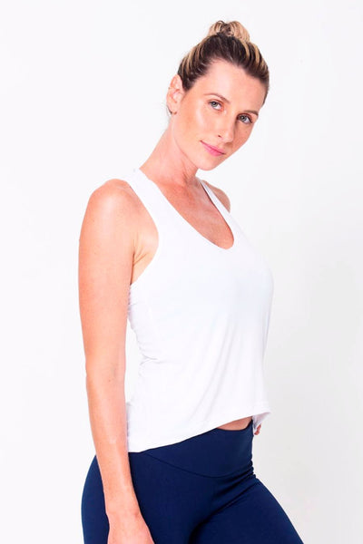 Tops White Racerback Tank - Womens Activewear and Workout Clothes | RomanceUSA