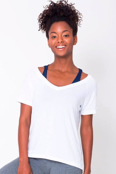 Tops White Raglan V-neck Tee - Womens Activewear and Workout Clothes | RomanceUSA