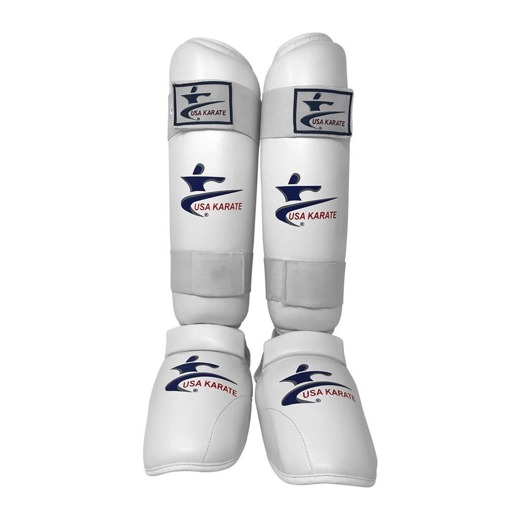 USA Karate Leg Protector w/Instep Guard  Approved by NKF- White