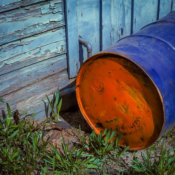 Paper Print Blue Barrel with Orange End JaiGieEse PhotoArt