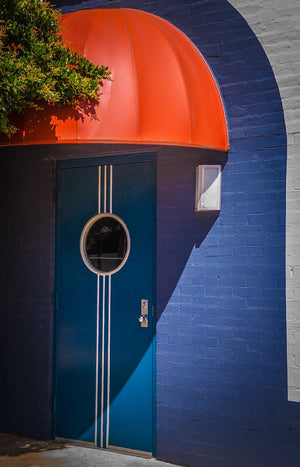 Paper Print Blue Door, Red Canopy
