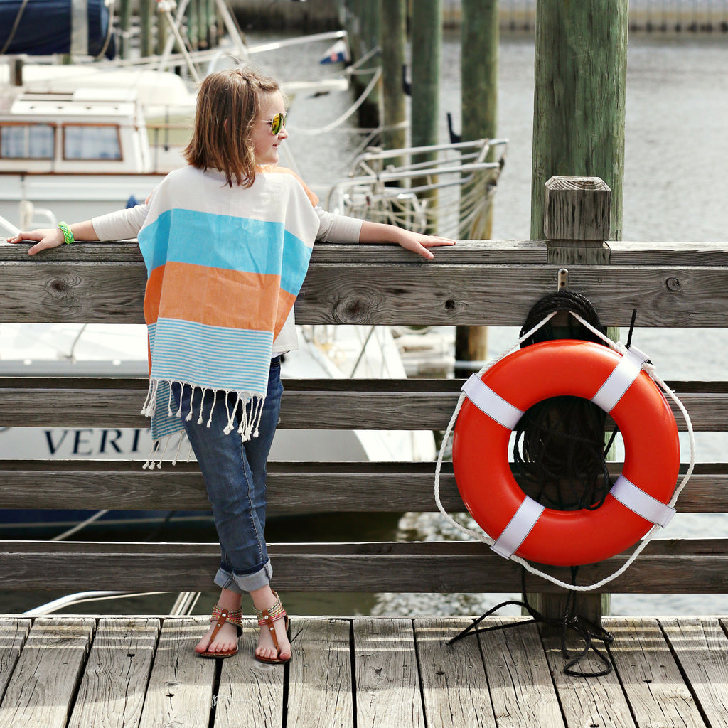 Children's Poncho and Parker Breakers Orange and Blue Model