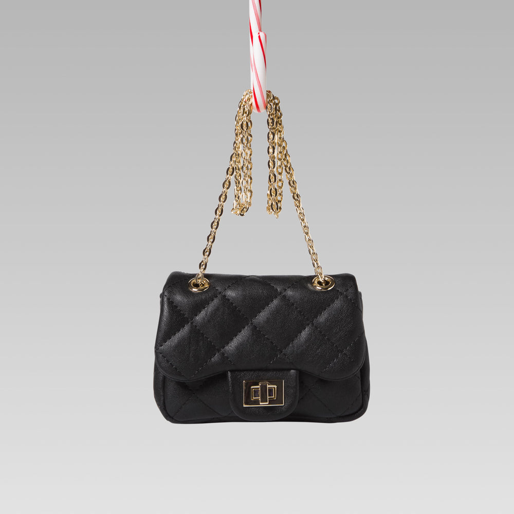 Girl's Quilted Hand Bag Gold Chain Black Front