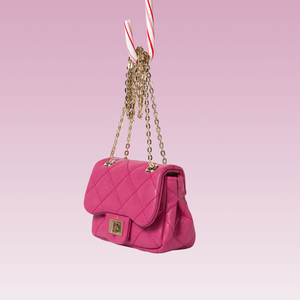 Girl's Quilted Hand Bag Gold Chain Hot Pink Side