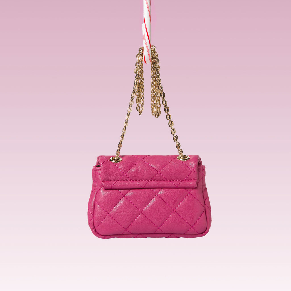 Girl's Quilted Hand Bag Gold Chain Hot Pink Back