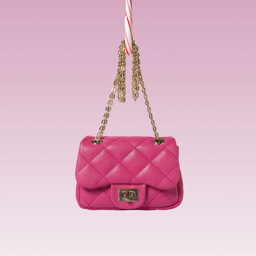 Girl's Quilted Hand Bag Gold Chain Hot Pink Front
