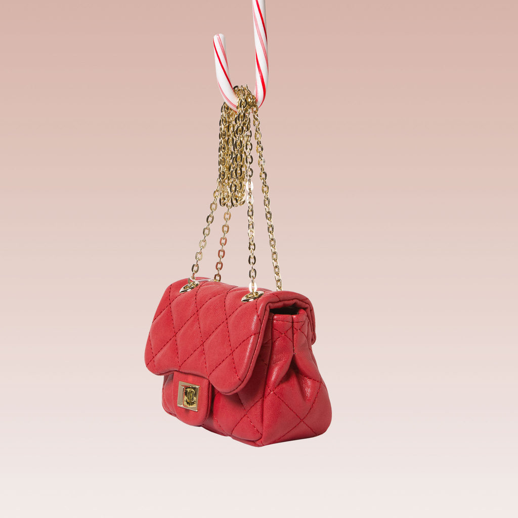 Girl's Quilted Hand Bag Gold Chain Red Side