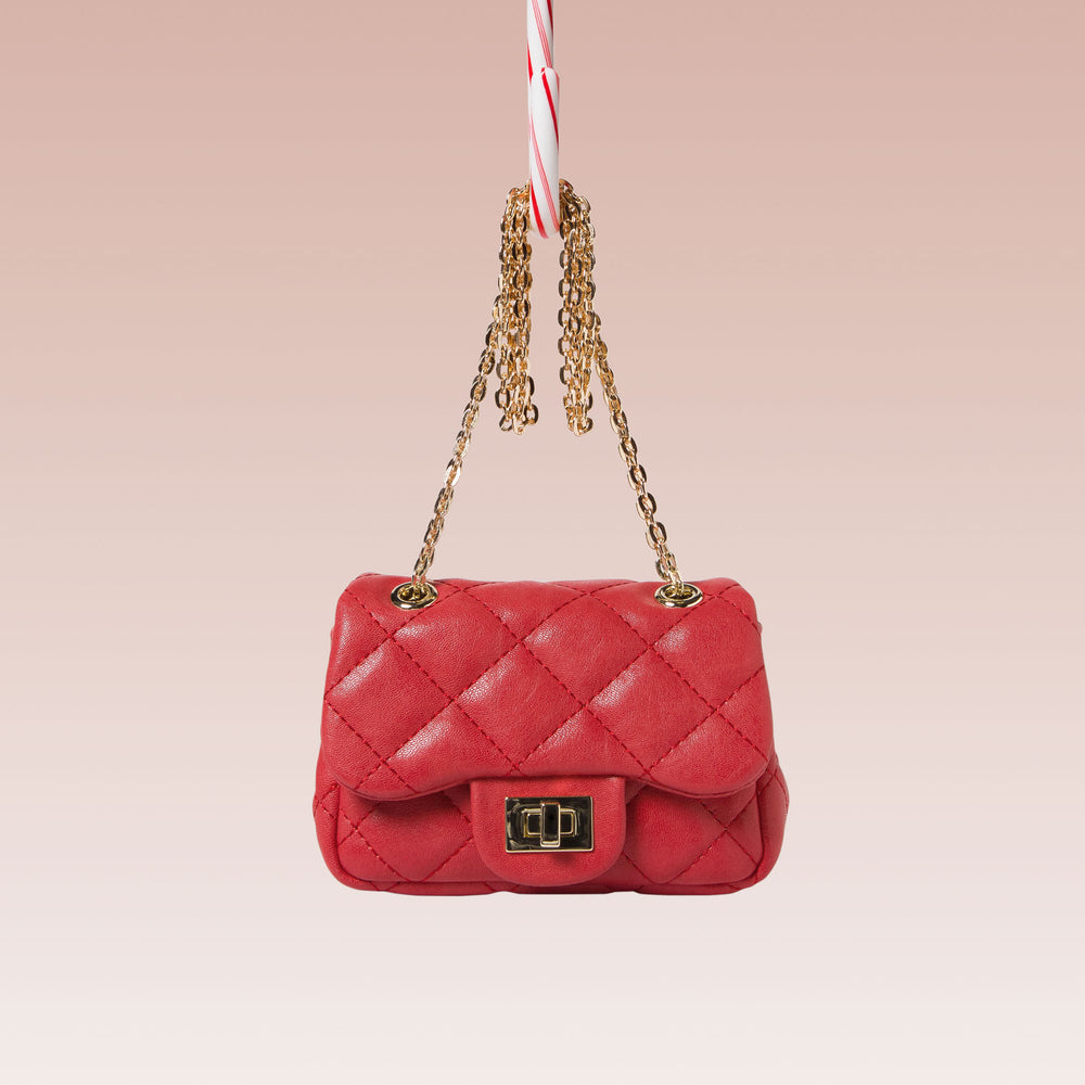 Girl's Quilted Hand Bag Gold Chain Red Front