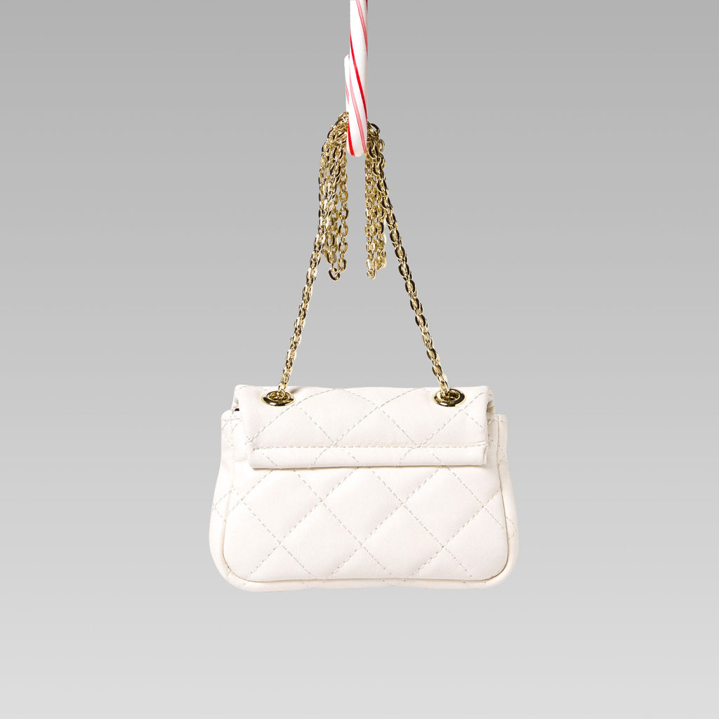 Girl's Quilted Hand Bag Gold Chain Red Back