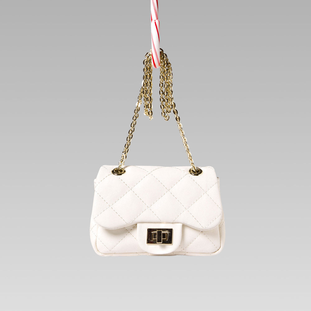 Girl's Quilted Hand Bag Gold Chain White Front