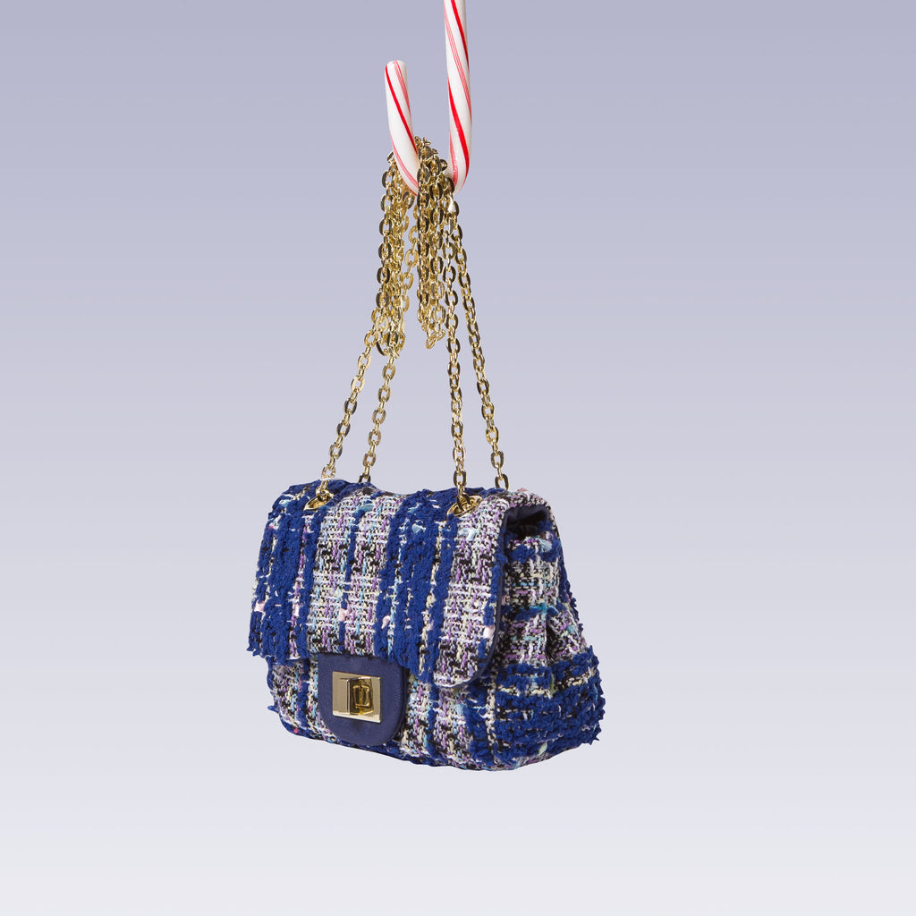 Girl's Tweed Hand Bag Gold Chain Blue Side