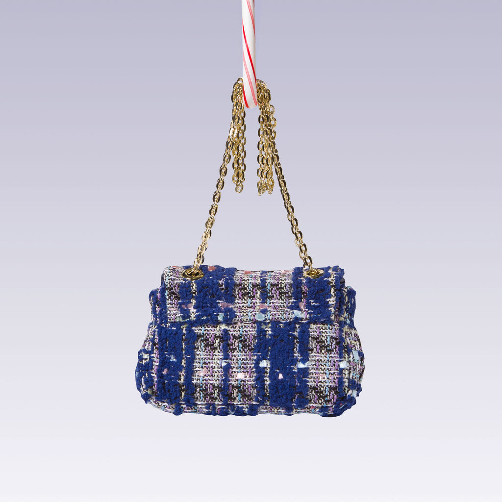 Girl's Tweed Hand Bag Gold Chain Blue Back