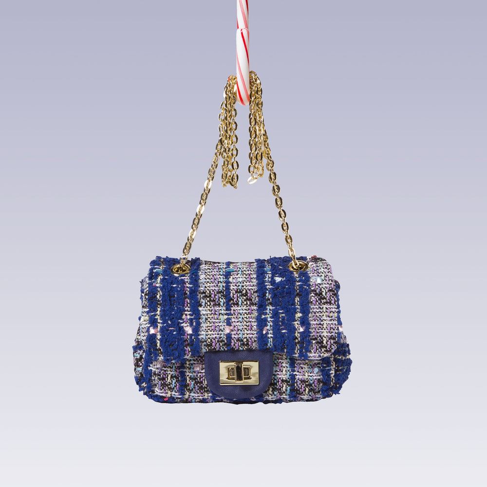 Girl's Tweed Hand Bag Gold Chain Blue Front