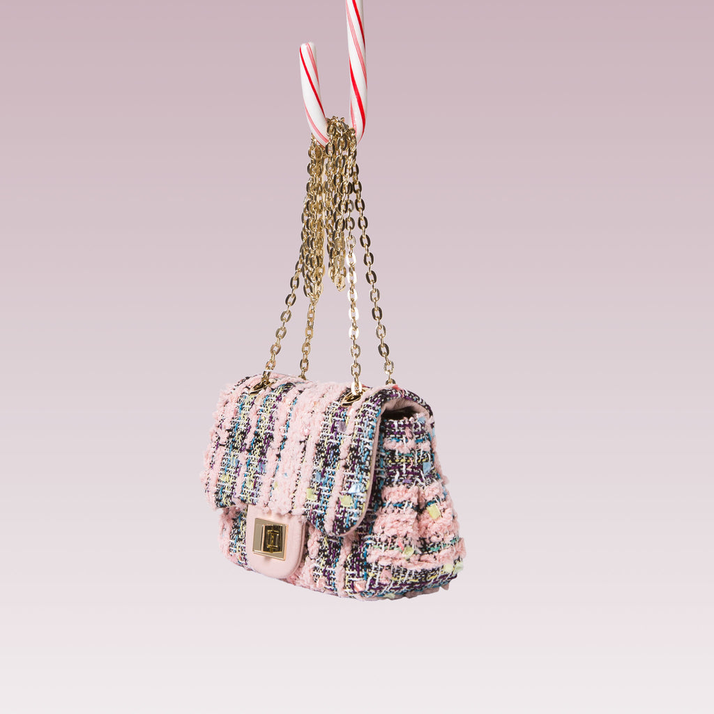 Girl's Tweed Hand Bag Gold Chain Pink Side