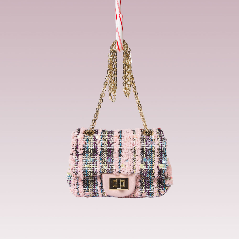 Girl's Tweed Hand Bag Gold Chain Pink Front