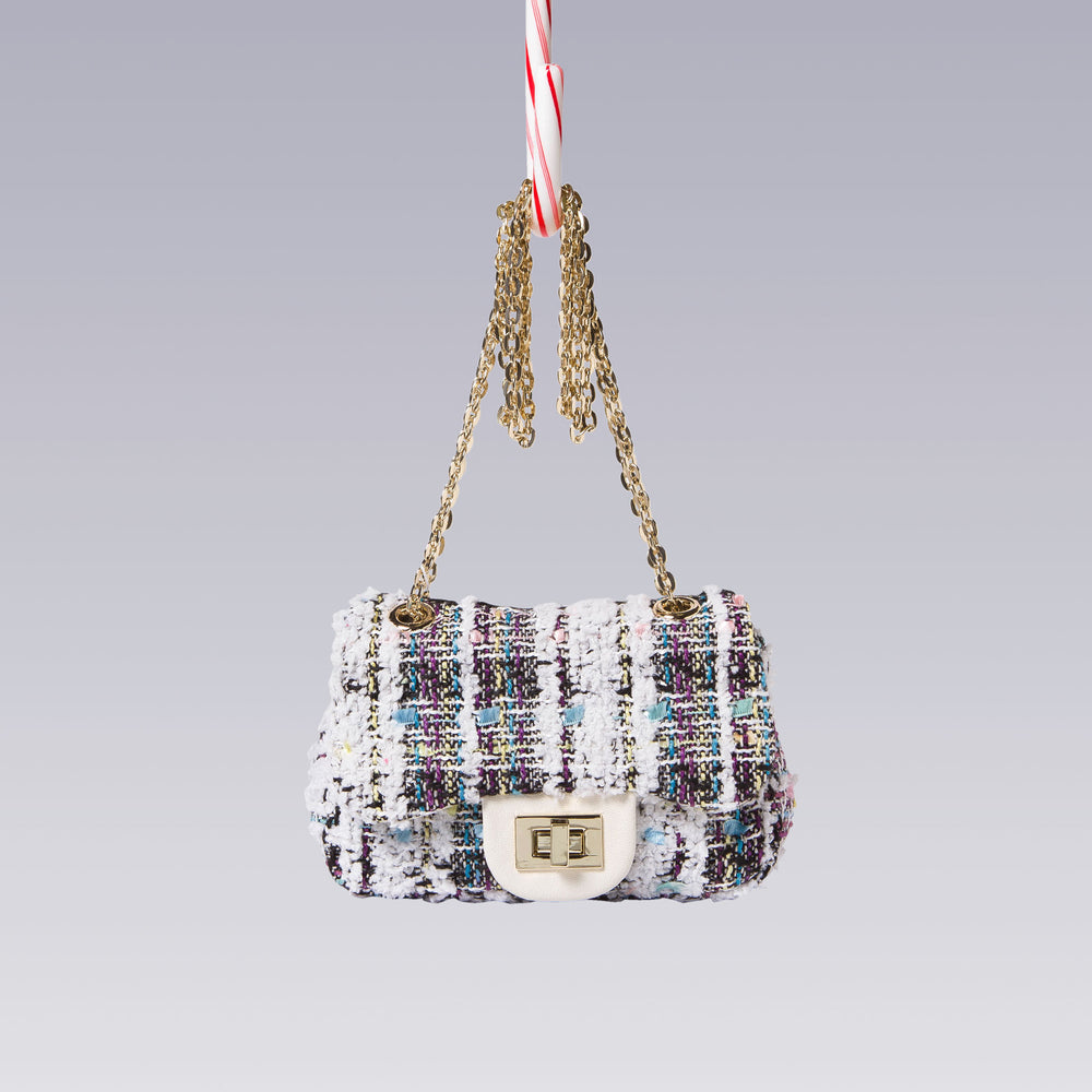 Girl's Tweed Hand Bag Gold Chain White Front