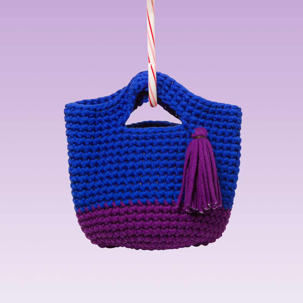 Hand-Knitted Tassel Shopper Bag (Royal Blue/ Deep Purple)