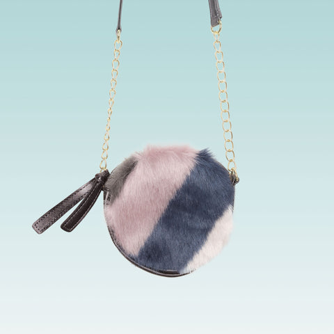Round crossbody purse for girls faux fur and leather blue pink and grey