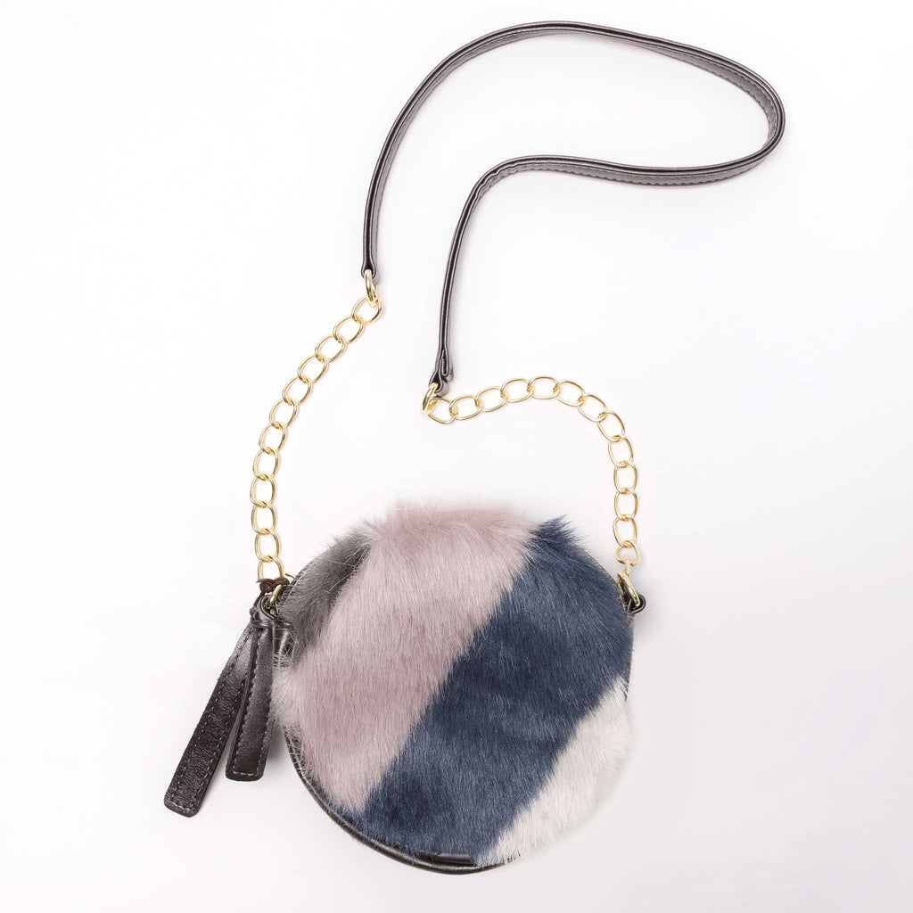 Round crossbody purse for girls faux fur and leather blue pink and grey  strap 922f54980770b