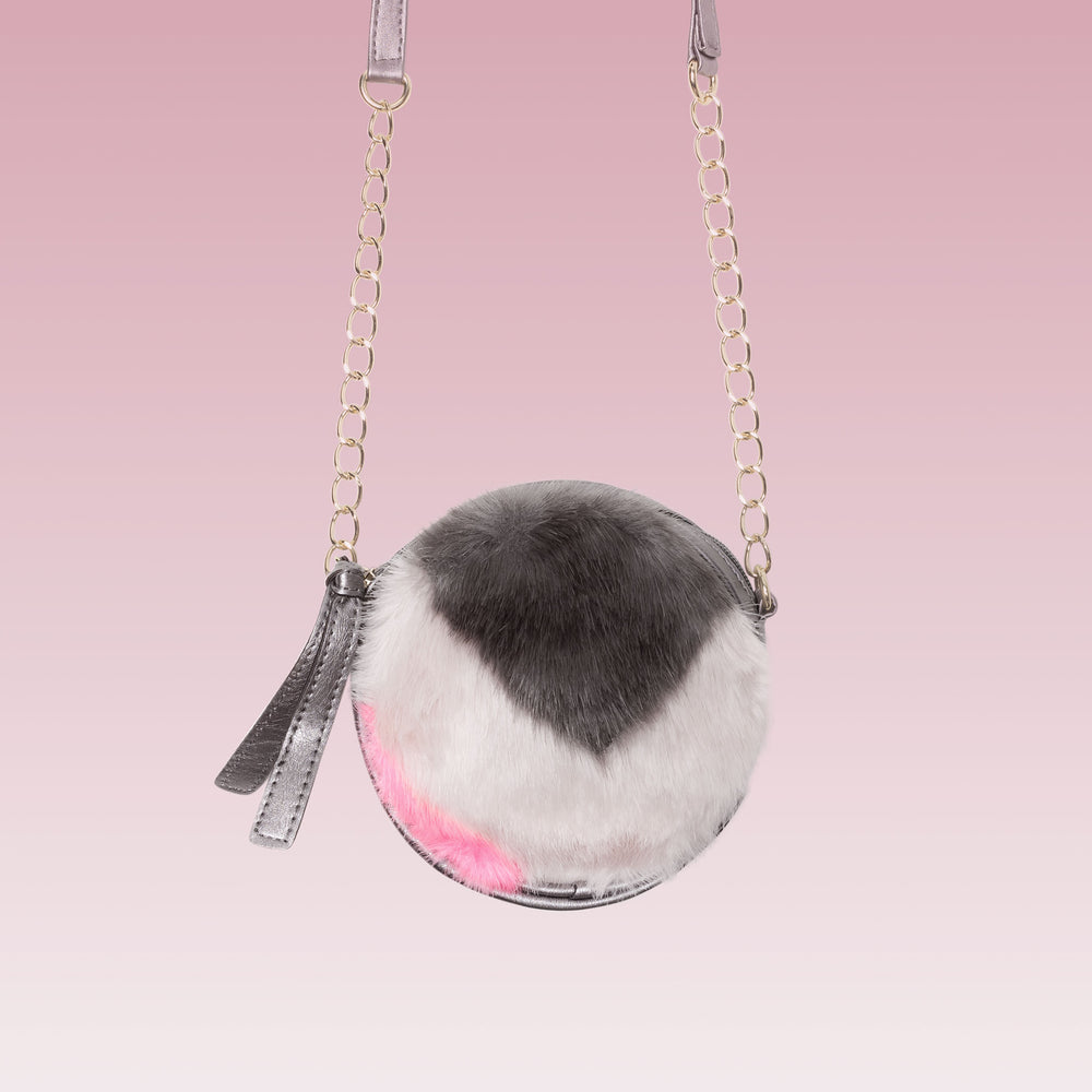 Round crossbody purse for girls faux fur and leather pink white and grey