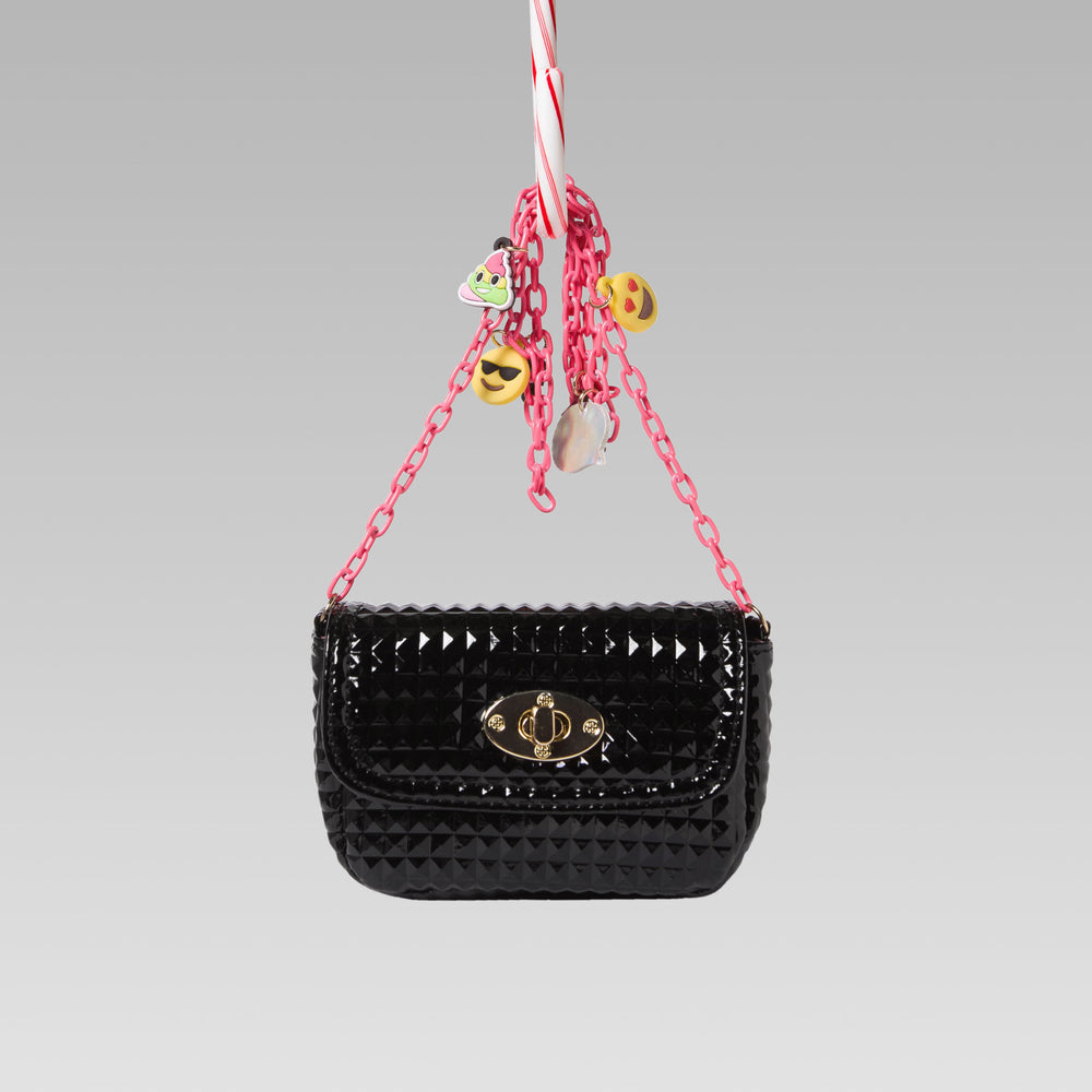 Me Oui Girl's Embossed Hand Bag Glossy Emoji Black Front
