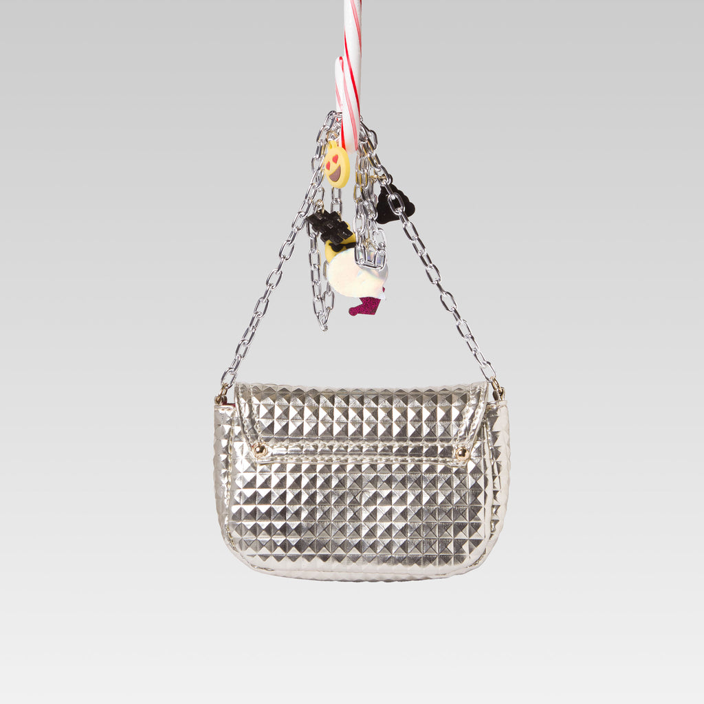Me Oui Girl's Embossed Hand Bag Glossy Emoji Gold and Silver Back