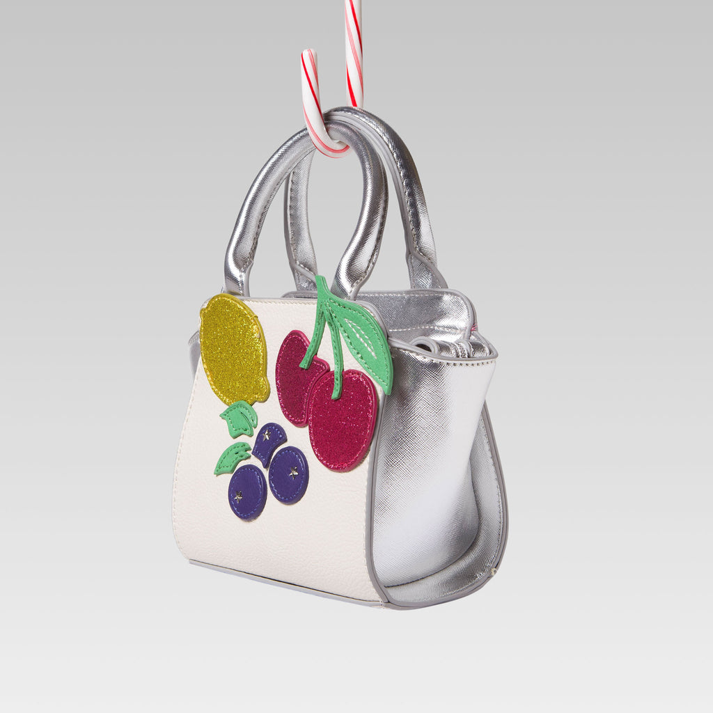 Me Oui Girl's Tote Hand Bag White and Silver Fruits Applique Side