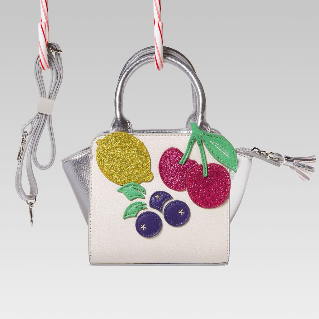 Me Oui Girl's Tote Hand Bag White and Silver Fruits Applique Strap