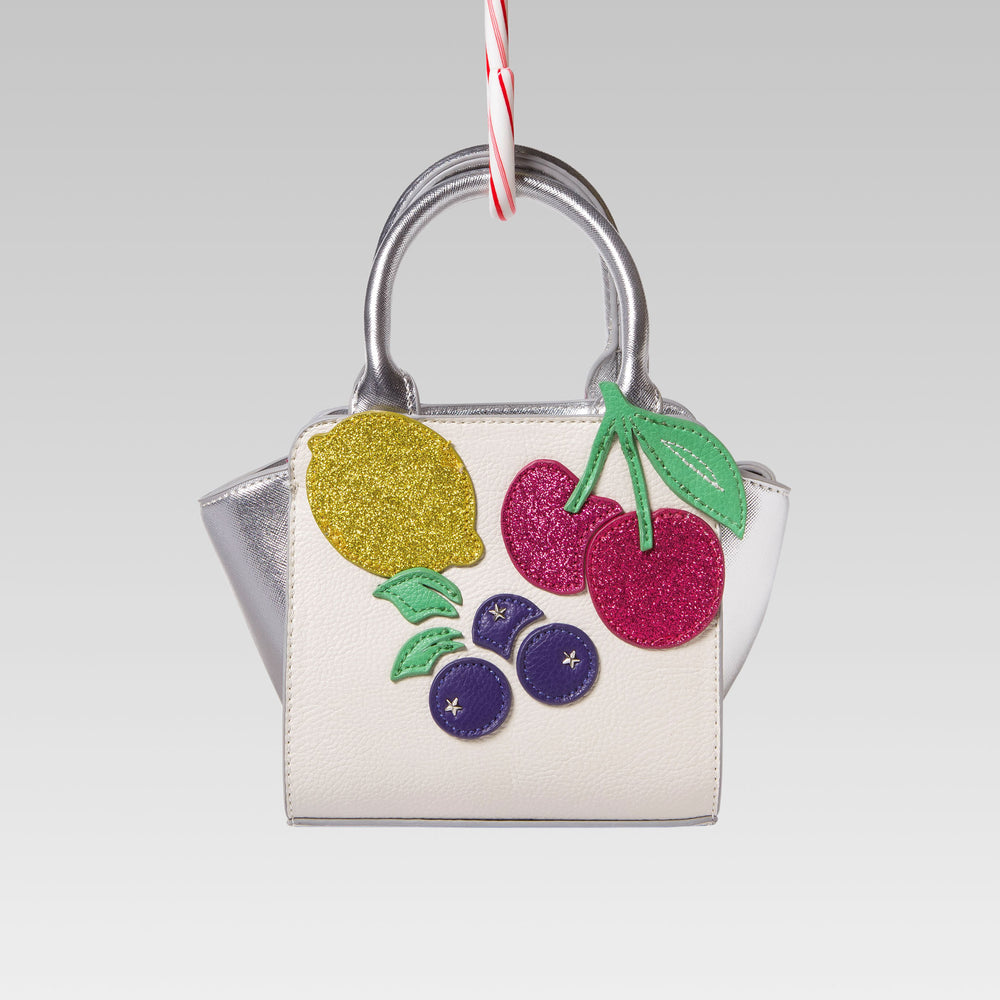 Me Oui Girl's Tote Hand Bag White and Silver Fruits Applique Front