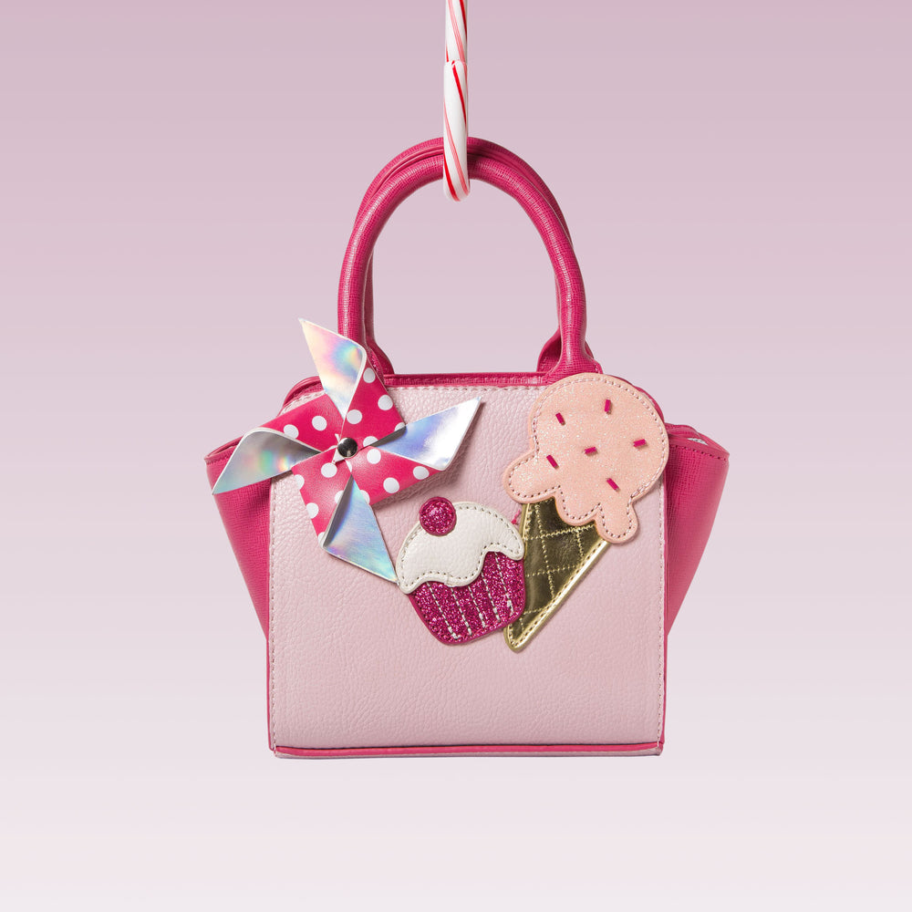 Me Oui Girl's Tote Hand Bag Pink Treats Applique Front