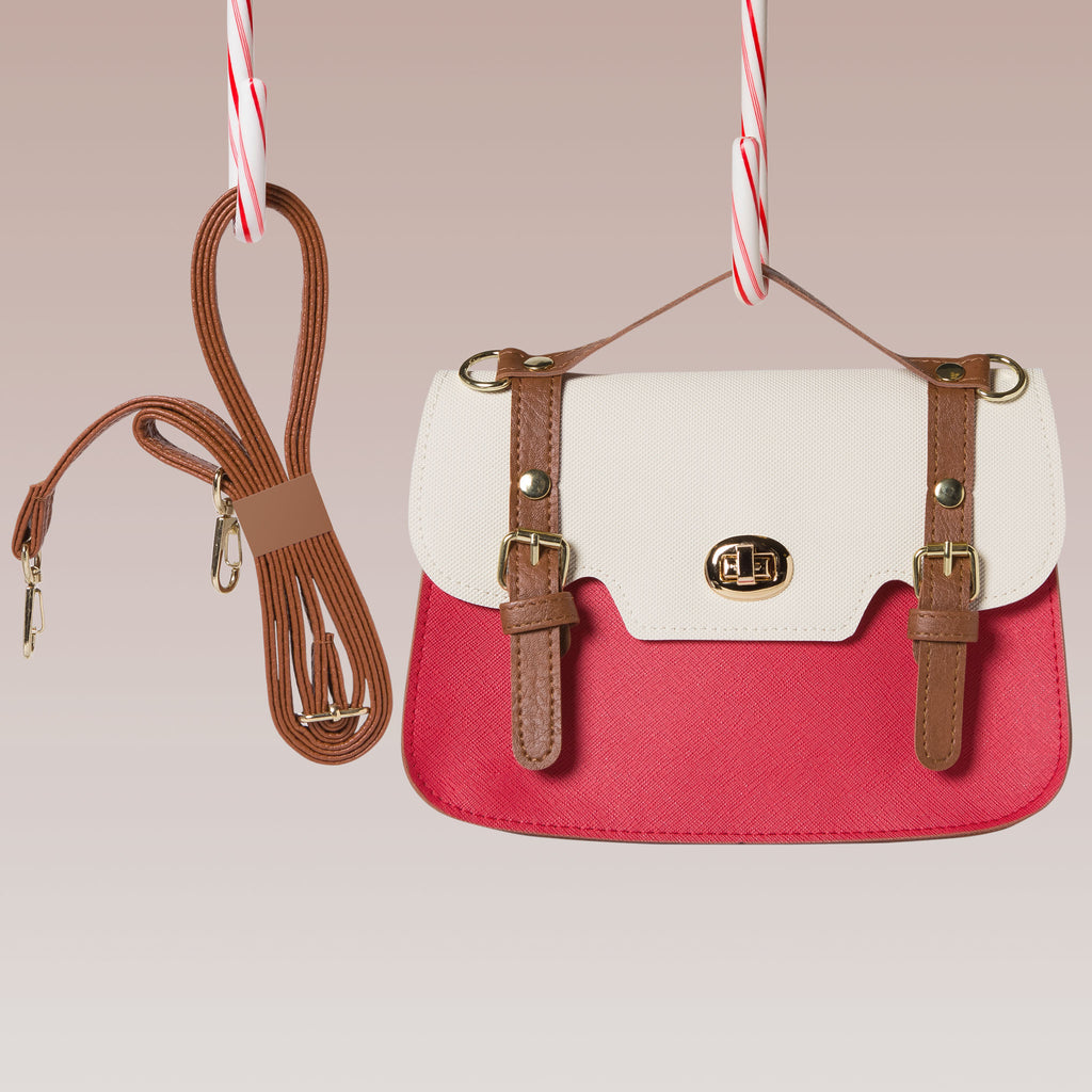 Mini Satchel/ Shoulder Bag (Ivory/Red)