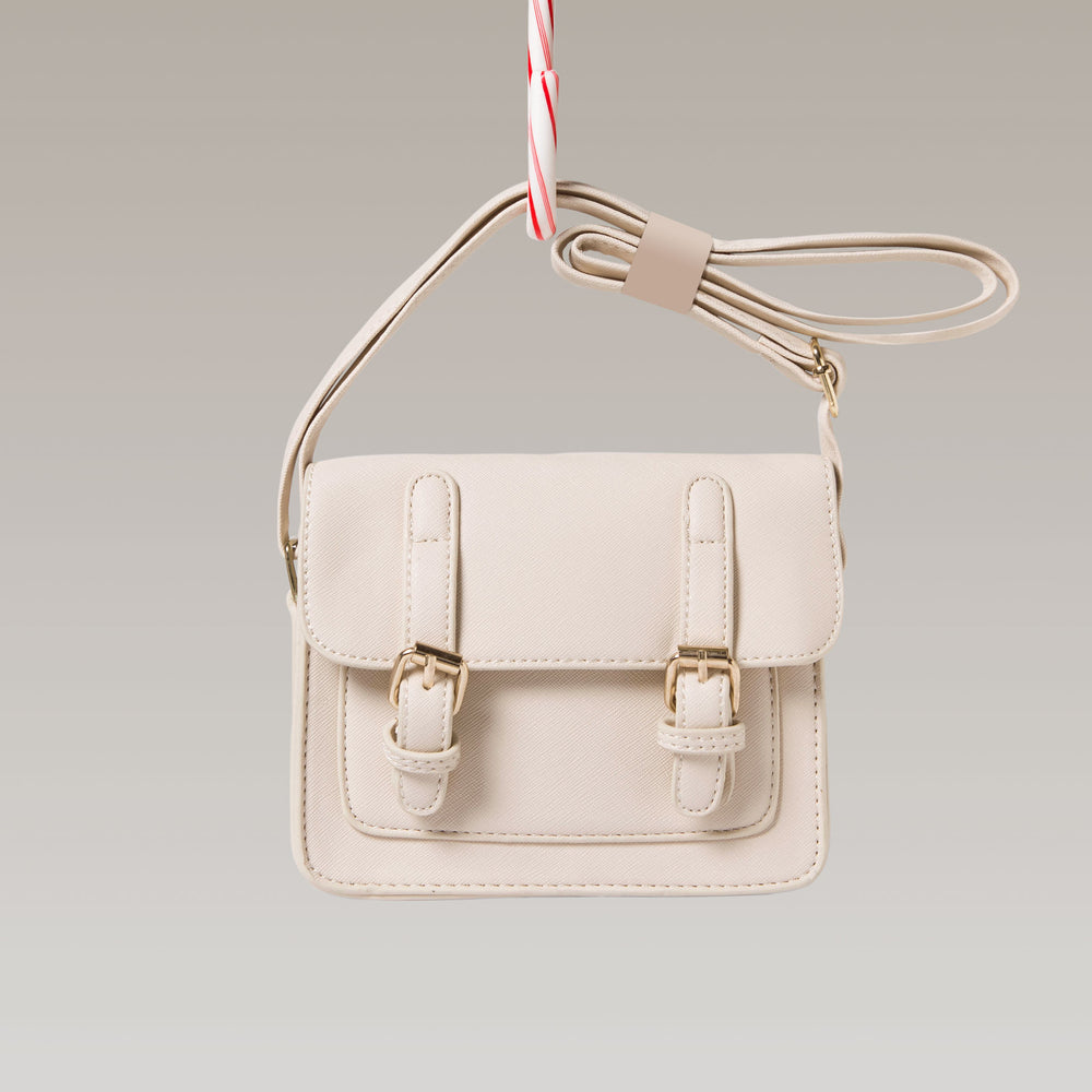 Girl's Satchel Hand Bag Adjustable White Front