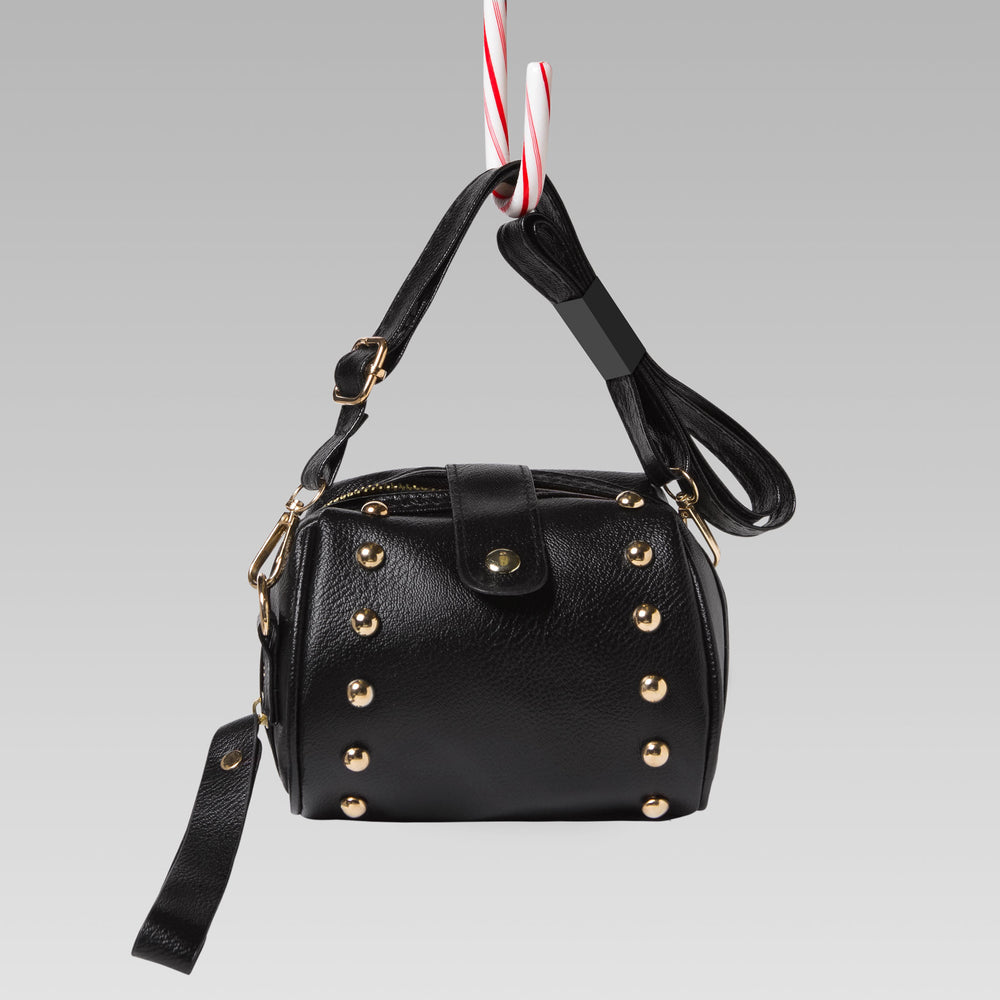 Girl's Mini Barrel Studded Hand Bag Black Front